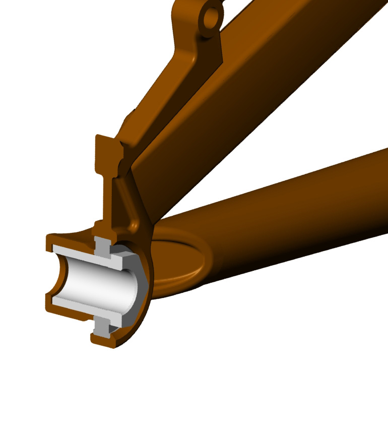 Concentric dropout, brake side.  The design is made to accommodate 12mm thru axles, 12mm QR and 10mm QR.  Hub width would be designed by the frame manufacturer based on intended use.